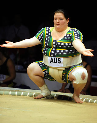 Queensland teenager Samantha-Jane Stacey wins sumo medal